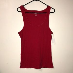 NWT! Dots Red ribbed tank top for women